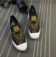 2018 New style fashion men loafers gold embroidery handmade ...