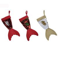 Christams 장식 인어 Christams 스타킹 선물 포장 가방 Bling Bling 블링 비즈 뒤집기 꼬리 양말 크리스마스 홈 장식 3 색 16inch