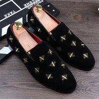 Fashion Black Glitter Spikes Red Bottom Loafers Shoes Men Fl...