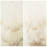 Vintage 1M lange Brautschleier Lace Appliques Pailletten Edge Short Brautschleier 2 Schichten White Veils Lange Braut Brautschleier