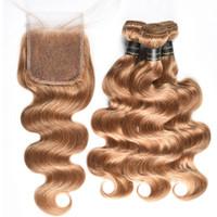 Honey Blonde brasiliano Body Wave con 4X4 chiusura del merletto 9a non trasformati vergine brasiliana dei capelli con l'onda del corpo con chiusura 27 # brasiliani capelli umani