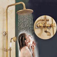 Nuovo di alta qualità bagno doccia a pioggia Set Bronzo antico fissato al muro bagno doccia vintage rubinetti con doccetta fissato al muro