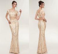 2018 New Designer Luxury Gold Due Pezzi Prom Dresses Mermaid Maniche Corte Che Borda Abiti Da Ballo di Cristallo Donne Arabo Vestito Da Partito CPS931