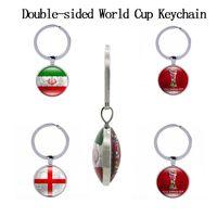 Welt Cup doppelseitige Fußball Schlüsselanhänger Land Fahnen Glas Cabochon Fußball Fans Souvenir Auto Schlüsselhalter Tasche Zubehör Schlüsselanhänger