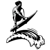 Смешные доски для серфинга здоровый храбрый стиль автомобиля стикер черный / серебристый черный / серебристый ca-005