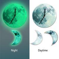 Funlife Moon oscilante reloj de pared de péndulo que brilla intensamente, decoración luminosa del hogar de la media luna romántica, silencio de barrido de cuarzo para el dormitorio, 30cm12 '