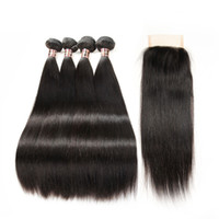 4 Bundles With Lace Closure 5pcs lot Mink Indian straight Je...