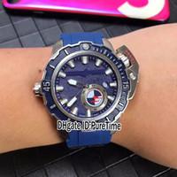 2018 New Style Diver 3203-500LE-3/93-martelo de aço Caixa azul Dial Mens Watch Big Crown Automatic relógios desportivos borracha azul Puretime B01a1