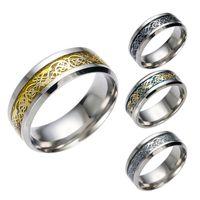 2018 de calidad superior nunca se desvanecen Vintage Chinese Dragon acero de tungsteno anillo de oro para hombres señor boda anillos de titanio Banda nueva joyería del anillo punk