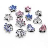 Il tasto di cristallo del diamante di Meetee Pet Wear Decoration Buckle 10MM Accessories Sliding Patterns Pet Diy Collar Rhinestone All'ingrosso