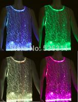2017 패션 led tshirt 플래시 캐주얼 탱크 탑 광섬유 빛나는 의류 남성 티 셔츠 clubwear 민소매 RGB LED