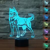Visual Husky Pet 3D Nachtlicht LED Tischlampe 3D Lihgting 7 Farbwechsel USB Lampe Schlafzimmer Schlafen Weihnachtsdekoration # R54