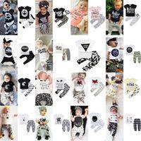 2018 INS Ternos Do Bebê 36 estilos Meninos Do Bebê Meninas Estampas Florais Roupas Infantis Set Tshirt + Calça Bebê Roupas de Manga Curta Em Conjunto de Roupas
