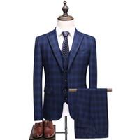 (Giacca + Gilet + Pantaloni) 2018 Primavera Degli Uomini Vestiti di Modo della banda Casuale uomo Abito da sposa business Slim Fit da Da Sposa