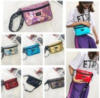 Women Laser Fanny Packs Sports Bags Belt Shiny PU Pink Waist...