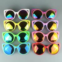 거울 아이 선글라스 고양이 눈 패션 어린이 안경 프레임 소녀 멋진 디자이너 태양 안경 믹스 색상