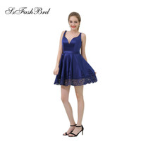 Elegant Girls Dress V Neck Open Back A Line Mini Short Dark ...