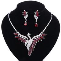 Nuevas mujeres Joyas de boda Conjuntos Collar de cristal Pendientes Conjunto Fiesta de novia Accesorios de joyería Peacock Estilo de moda