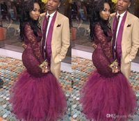 Borgogna Mermaid Prom Dresses Dubai Illusion maniche lunghe Black Girl Abiti da sera Collo alto Red Carpet Abiti celebrità Nuovo arrivo