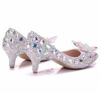 Nouveau Belle AB Strass Femmes Pompes À Bout Bout Pointu Bowtie Cristal Argent Chaussures De Mariage À La Main Lady Talons Plus La Taille