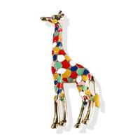 Mode Gold Überzogene Legierung Elegante Multicolor Emaille Giraffe Brosche Schöne Tier Broach Pin Heißer Verkauf Kleidung Schmuck Zubehör