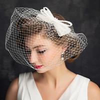 Amandabridal الزفاف القبعات أغطية الرأس العاج حزب كاب الحجاب اكسسوارات الزفاف ل قبعات الزفاف تول النساء قفص العصافير الحجاب