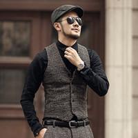 2018 Nouvelle arrivée hiver carreaux casual laine mince hommes veste de style européen costume design de mode la mode des hommes de gilet veste