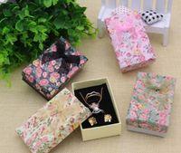 Flor floral collar pendientes anillo caja 5 * 8cm joyero papel joyería caja de regalo multi colores joyería organizador GA59