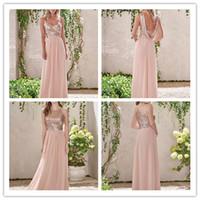 Блестящие блестки дешевые длинные платья подружки невесты, смешанные декольте поток шифон лето роза blush bridemaid формальное обратное вечеринки платья с оборками