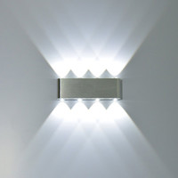 8 와트 현대 사각형 LED 벽 보루 조명기구 알루미늄 높은 전원 8 LED 다운 벽 램프 스포트 라이트 계단 빛 2 개