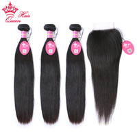 Queen Hair Brazilian Human hair 4pcs Lot, 1pc Lace Closure w...