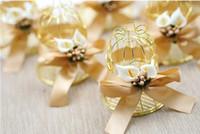 100 قطع فريدة بسيطة الذهبي المعادن قفص الطيور قفص العصافير علب حلوى الزفاف الأحداث عيد الحب هدية الإحسان SN1265