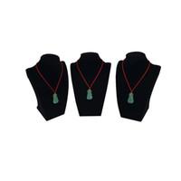 Lotto all'ingrosso di 3 pezzi di gioielli in velluto nero display busto collana pendente in legno organizer catena di stoccaggio espositore titolare stand 22 cm