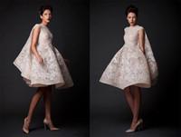 2018 New Krikor Jabotian Brautkleider Applique Jewel Sleeveless Strand Kleider Knie-Länge Satin A-Line Brautkleider mit Falten Vestido