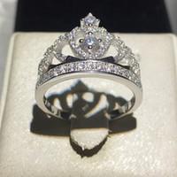 핸드 메이드 패션 레이디 크라운 반지 925 스털링 실버 다이아몬드 CZ 약혼 결혼 반지