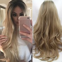 Natural Blonde Ombre Loose Wave Hair Wig for Women Dark Root...