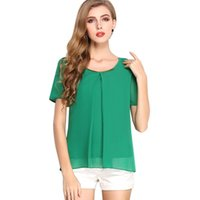 Women Loose Cozy Short Sleeves Chiffon T- shirts Solid Sequin...