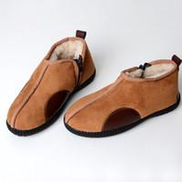 2018 moda inverno vera lana uno scarpe da uomo stivali da neve anti-scivolo  cerniera casual breve tubo di lana di mezza età scarpe 1f9510eba8a