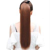 Peluca de pelo 22 '' larga recta colas de caballo Clip en cola de caballo cordón sintético cola de caballo resistente al calor del pelo falso envío gratis