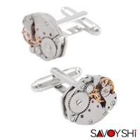 Erkekler Marka Yüksek Kalite Gümüş Mekanik İzle Hareketi Manşet Düğmeler İş Kol Düğmeleri Hediye Takı Klasik Gömlek Kol Düğmeleri