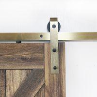 Mässing Classic Sliding Barn Wood Door Hardware Kit Gold Finish Antik Borstat Glod för inre dörrar