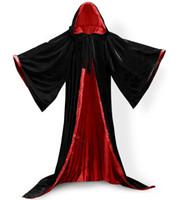 Lange mouwen fluwelen kap cloak volwassen kind zwart fluwelen hooded vampire cape halloween party plus size 6XL cosplay