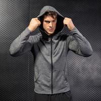 Moda Uomo Running Jacket Cap Hoodie Pullover da calcio Uomo Compression Fitness Rashgard T-Shirt Gym Bodybuilding Sportswear