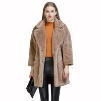 Новая мода из искусственного меха кролика пальто женский костюм воротник свободная рюш пальто Twinter женские женские искусственного меха пальто