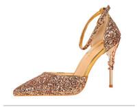 2021 Nowe Kobiety 8 cm Glittery Glittery High Heels Pompy Sexy Lady Cekiny Party Block Wysokie Obcasy Pompy Ślubne Kobiece Walentynki Buty NXX96