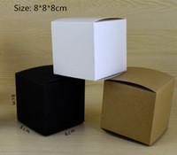 8*8 * 8 см пустой белый / черный / крафт-бумага упаковочная коробка DIY ручной мыло косметические подарочные коробки клапан трубы пакет