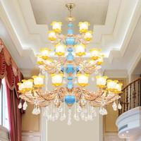 Çinko Alaşım Kristal Avize 30 Kafa led Kristal Lamba Villa Oturma odası Merdiven Büyük Avize Otel Üç Katmanlar Mühendislik Kolye Lambaları