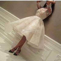 Новые коктейльные платья длиной до колена 2018 драгоценные камни полное рукавное платье короткие скромные полное кружевное арабское обратное вечеринка вечеринка вечерние платья дешевый на заказ