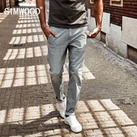 Wholesale-SIMWOOD 2017 Nova pintura de Spray de Outono Listrado Calça Jeans Homens skinny Fino Moda Slim Fit Denim Calças SJ6080