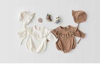 아기 소녀 의류 Romper 라운드 칼라 긴 소매 러프 Romper 100 % 코튼 고품질 소녀 아기 romper 옷